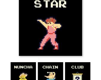Yie Ar Kung Fu, Hot Fighting History, Video Game Wall Art, 8-Bit Art, Arcade, Arcade Art, Kung Fu, Karate Art, Karate Champion, Pixel Art