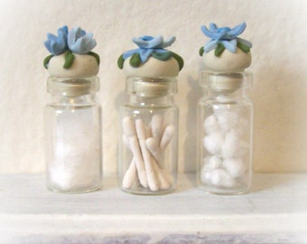 Blue Fancy Floral Dollhouse Mini Glass Bottles with Delicate Artisan Sculpted Flowery Lids Chic Bath Decor 1:12 Scale - Set of 3