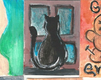 Artist Trading Cards (ATC) Hand Painted Acrylic Miniature Works Of Art