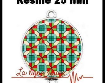 Connector silver 25 mm cabochon resin - stained glass Cross (133) dome - shaped, geometric pattern