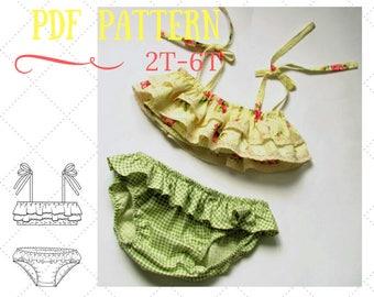 Ruffled Bikini pattern, Girl's Retro swimsuit pattern, Sunsuit pattern for girls, Kids swimwear pattern, Girls panties pattern