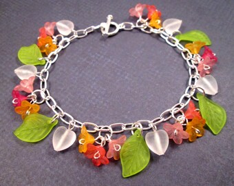 Flower Charm Bracelet, Morning Glories, Colorful and Silver Beaded Bracelet, FREE Shipping U.S.