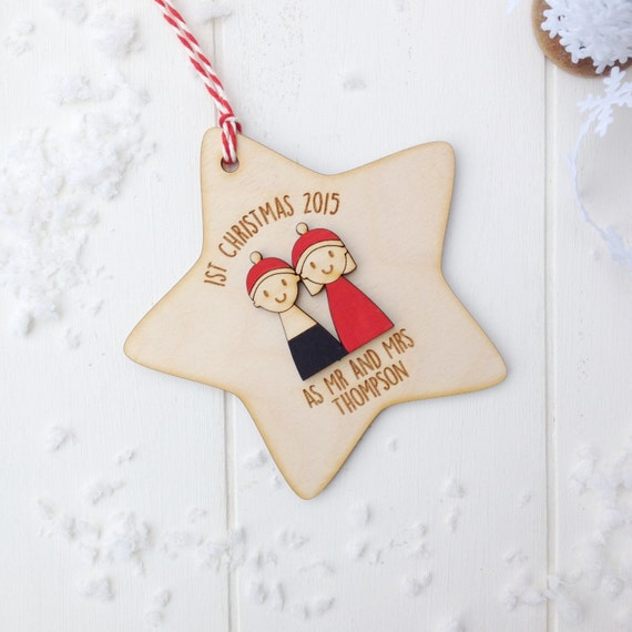 First Christmas as Mr & Mrs Tree Decoration - Personalised first christmas married decoration