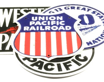 Small Vintage RR Tin Sign/Plaque - Union Pacific Railroad Tin Sign - Post Cereal Box Prize  Railroad Train Collectible Red White and Blue