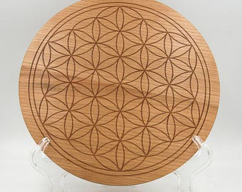 """Flower of Life 8"""" Crystal Grid Board - Sacred Geometry Cherry Crystal Healing Grid - Overlapping Circles Engraved Geometrical Grid Board"""