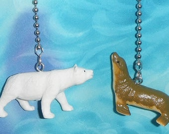 Set of Two ~ Baby Polar Bear & Sea Lion Zoo ~ Custom Ceiling Fan Pull Chains