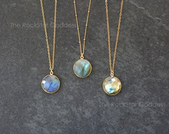 Labradorite Necklace / Gold Labradorite Necklace / Labradorite Jewelry / Gift for Mom / Christmas Gift / Satellite Chain