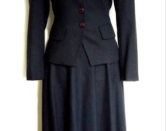 Jones NY suit, XS, S, navy blue suit, vintage suit, 80's suit, 40's suit, wool suit, spring suit, fall suit, winter suit, designer suit