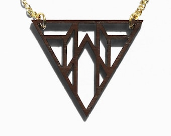 Geometric Triangle Laser Cut Wooden Necklace 7