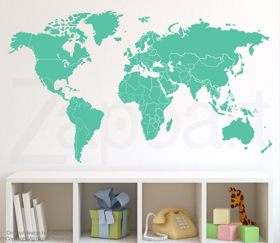 World map wall decal with countries borders gumiabroncs Choice Image