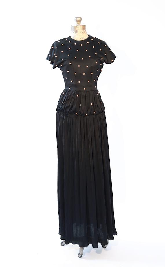 cocktail gown dress party 30s flower black STUD Antique S studded gown 1YqPEwxwZ