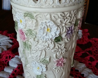 Beautiful Ceramic Vase with Embossed Flowers and Trellis 8 Inch Tall