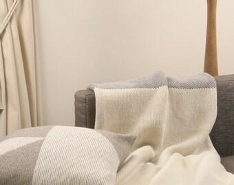 100 % Merino wool blanket, knitted blanket, wool blanket, white blanket, pillow cover, grey, bed cover, warm blanket, bed throw, wrap, warm