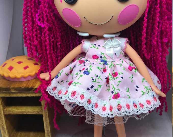 Handmade Dress for Lalaloopsy Doll // Full Size Big Sister // Doll Clothes // Stocking Stuffer // Under 10 // For Girls // Red Rosebud Dress