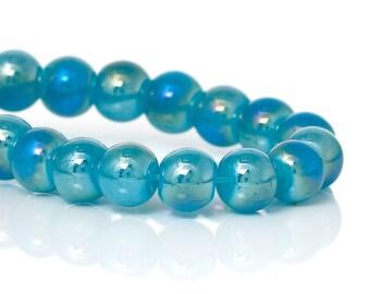 6MM Marine Aqua Luster AB Glass Beads