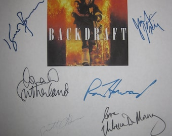 Backdraft Signed Film Movie Screenplay Script X10 Autograph Kurt Russell Robert De Niro Ron Howard Jennifer Jason Leigh Donald Sutherland
