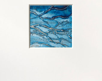 Abstract Tree Plaster Painting in Blue, Black and Metallic Silver w/ White Mat - Original Acrylic Art on Panel with Sheet Music