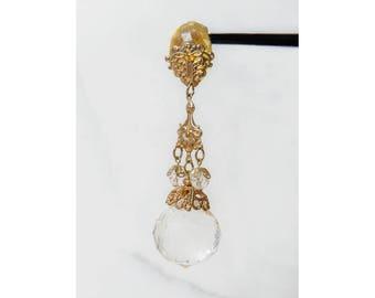 Crystal Drop Earrings . 1980s Jewelry . Statement Jewelry