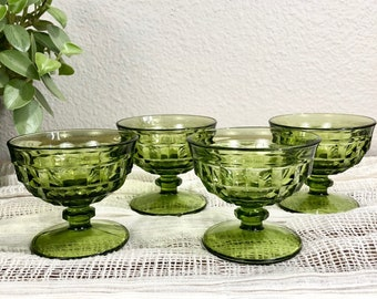Vintage Set of 4 Green Glass Dessert Dishes / Champagne Glasses / Green Cut Glassware / Mid-Century Stemware