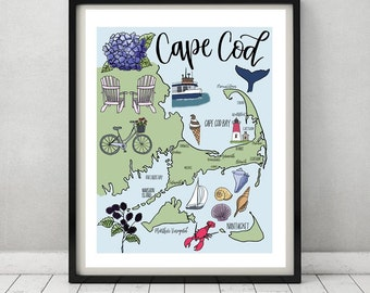Cape Cod Illustrated Map   Drawings + Calligraphy print   Martha's Vineyard, Nantucket, P-town, Ferry, Lighthouse, Beach   Hand-lettered