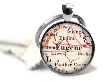 University of Oregon Keychain, Eugene Map key chain, graduation gift, college gift idea, university pendant, boyfriend gift, A143