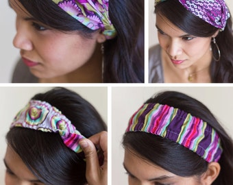 3 Banded Beauty Headbands - PDF sewing epattern - three styles of headbands to create all in one digital pattern