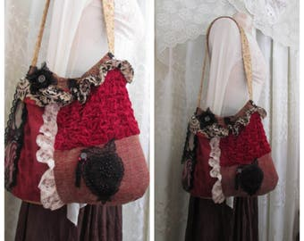 Red Ruffles Bag, handmade fabric purse, upcycled hippie shoulder bag, scrunchy velvet bag, wide