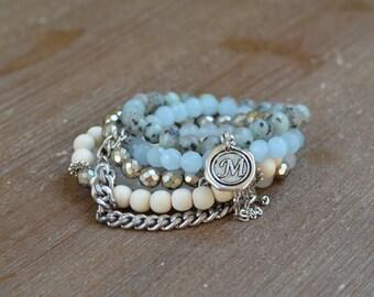 CLOSEOUT Robin Stack - Beaded Stretch Bracelet Stack - Aqua Bracelet Stack Set - Light Blue Bead Bracelet - Arm Candy Charm Bracelet