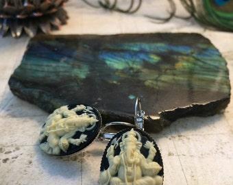 Ganesh Elephant Earrings - Indian Style Jewelry, Hindu Gods, Hindu Jewelry, Elephant Jewelry, Bollywood, Diwali Gifts, Ivory Earrings
