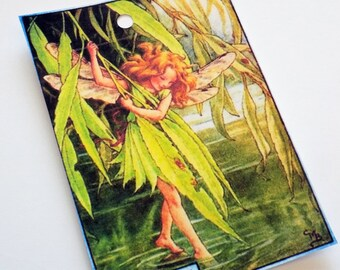 Willow Fairy Tags - Set of 4 - Vintage Fairy Tag - Woodland Fairy - Green And Gold - Fairy Gift Tags - Fantasy Tags - Tree Fairy Tags