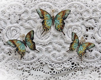 Reneabouquets Butterfly Set ~ Secret Garden Premium Paper Glitter Glass Butterflies