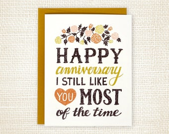 Anniversary Card - Funny Wedding Anniversary Card - Anniversary Card for Husband - Anniversary Card for Wife - Love Card - I Still Like You
