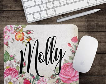 Mouse Pad Floral, Office Desk Accessories, Office Gifts for Women, Personalized Floral Mousepad, Vintage Rose