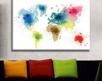 Multicolor World Map Canvas Print Wall Art Multi Panel World Map Wall Decor World Map Print Old World Map Poster Wall Art Travel Map Canvas