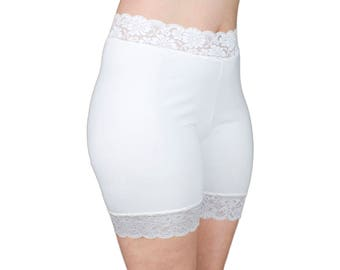 Soft Cotton Biker Shorts Off White Lace Bridal Underwear Half Slip Modesty Pants Bloomers