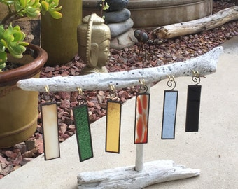 Set of 6 Stained Glass Christmas Ornaments
