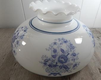 GWTW Vintage Glass Globe Blue White Milk Glass Ruffled Top