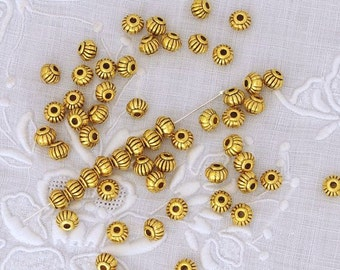 Pewter Oxidized Gold Plated Bali Style Ribbed Spacer Beads 4mm x 5mm - 50