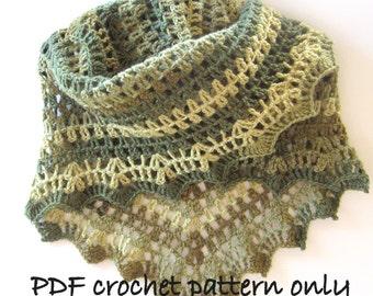 Pattern. Photo tutorial. Crochet shawl or wrap pattern. Stole pattern. PDF instant download.