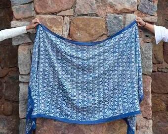 indigo block print scarf navy blue scarf, hand dyed, block printed, wholesale scarf, Cotton/Silk, women, Fashion, Accessories - jaali