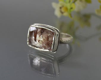 Rutile Quartz Ring in Silver, Big Rutilated Quartz Cocktail Ring,Copper Penny Rutile Ring, Large Statement Ring,east to west setting,size 9