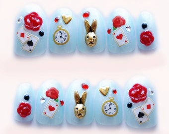 Alice in wonderland, fake nails, kawaii nails, 3D nails, false nail, bunny, rose, blue, Japanese nail