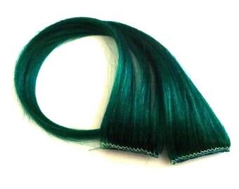 "Set of TWO 14"" Clip-In Human Hair Streaks, Clover - mermaid green festival hair extensions"