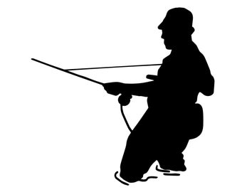 Fly Fishing Decal, Fly Fish Sticker, Outdoorsman Flyfishing Decal, Fly Fisherman Silhouette