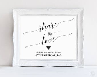 Wedding Hashtag Sign, Share the Love Sign, Printable Hashtag Sign, Wedding Photo Hashtag Sign