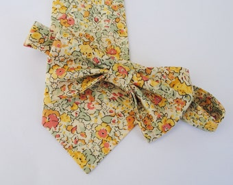 Yellow Wedding Tie, Liberty of London Print Tie, yellow necktie, yellow skinny tie, custom wedding necktie