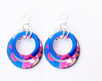 Red Bull Earrings Hoop Earrings Recycled Upcycled Teen Girl Gift Eco Friendly Redbull Flash SALE JewelryR24