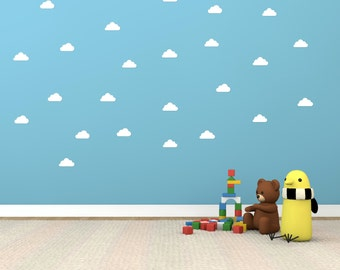 Cloud shape vinyl wall decals : Set of 48 Vinyl wall stickers per pack.