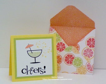 "Cheers Friends Notes...Set of (4) 3"" x 3"" note cards...4 handmade with designer paper envelopes...Stampin'Up! Stamps...Fresh Fruit!!"