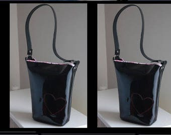 1950's Inspired Black Patent Leather Bucket Bag-Made to order-Custom specifications gladly accepted